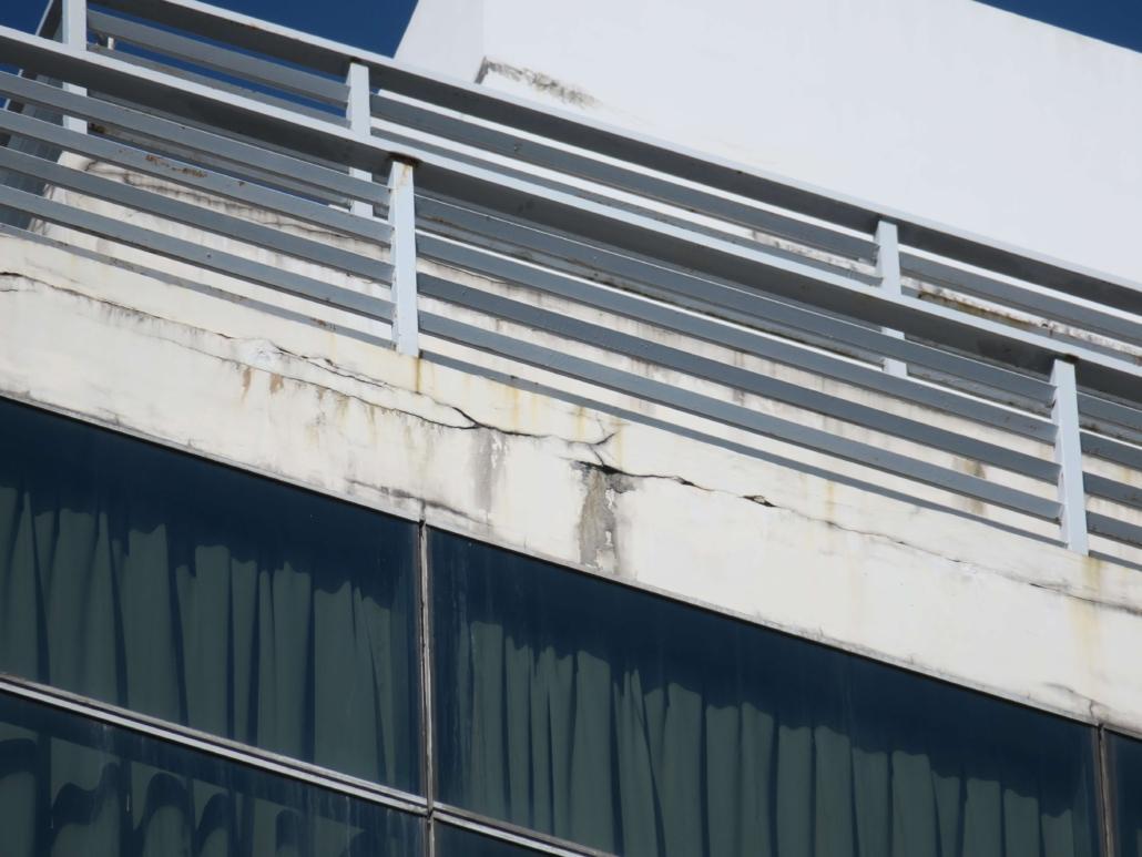 Cracks on facade surface