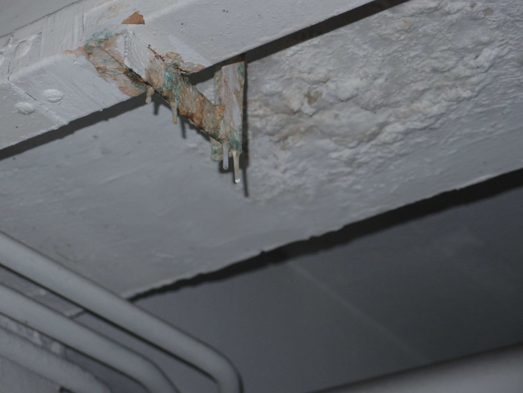 Paint blistering & efflorescence on ducting