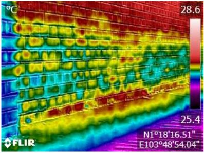 Thermal anomaly present on wall, indicating presence of moisture